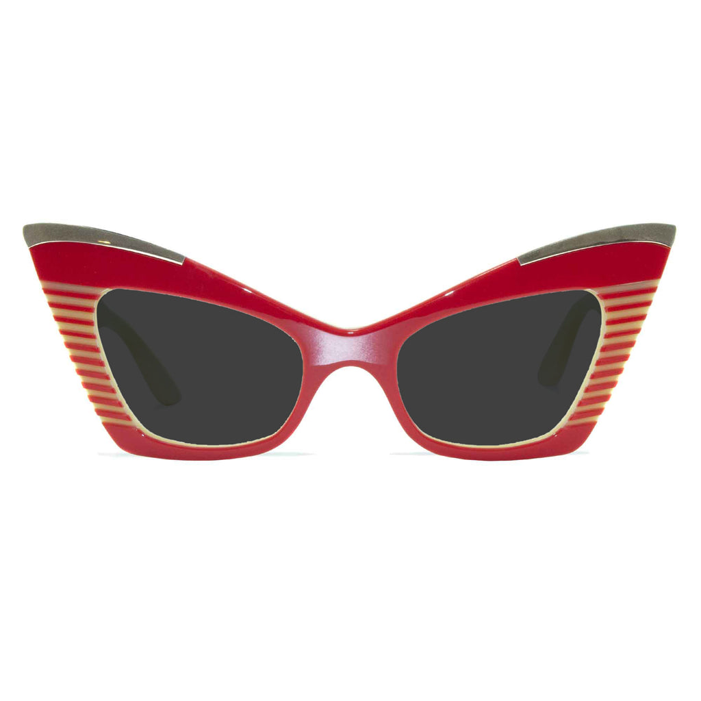 red & cream cat eye sunglasses