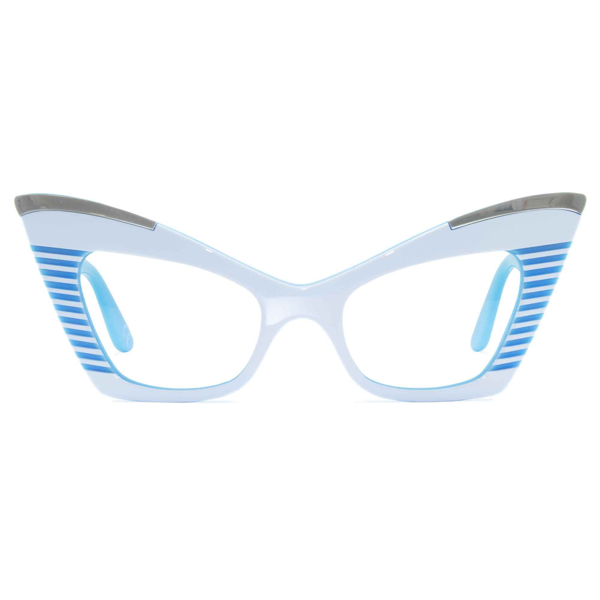 white & sky blue cat eye glasses