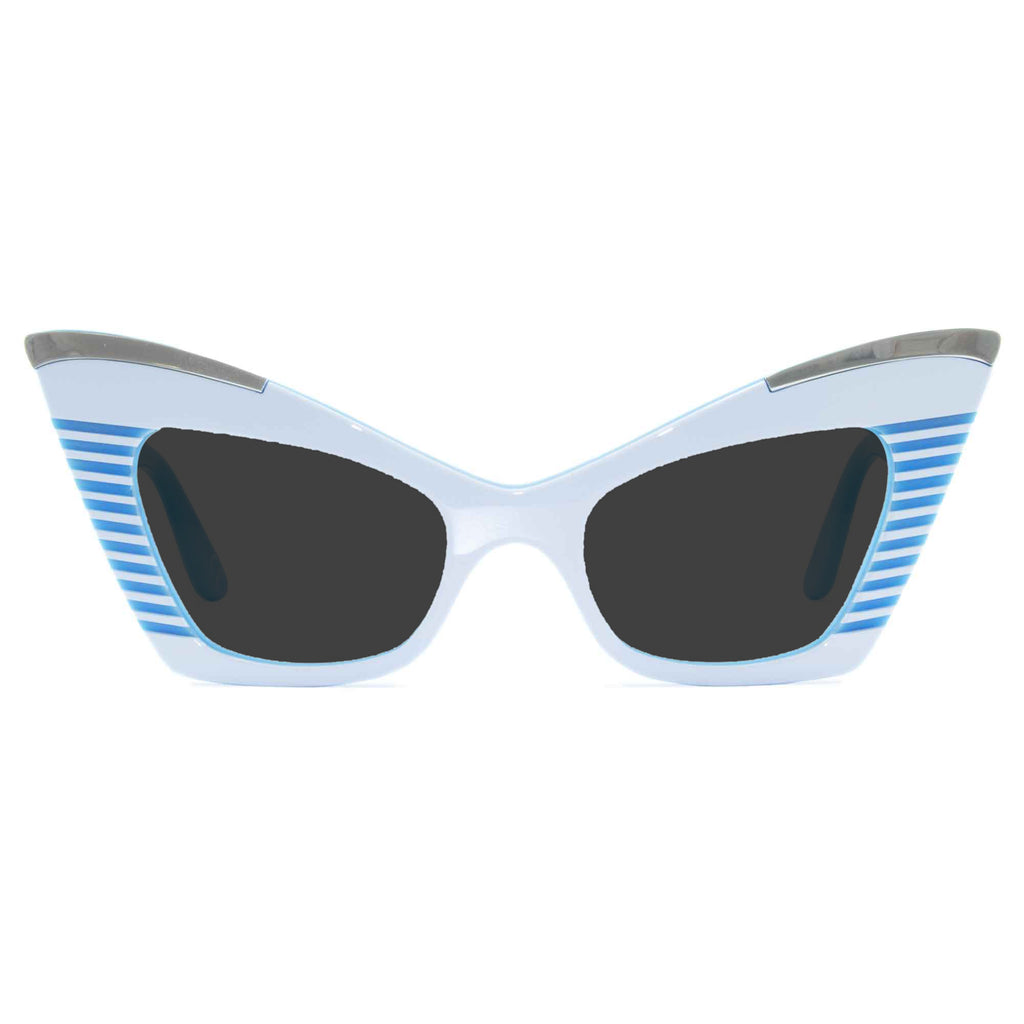 white & sky blue cat eye sunglasses