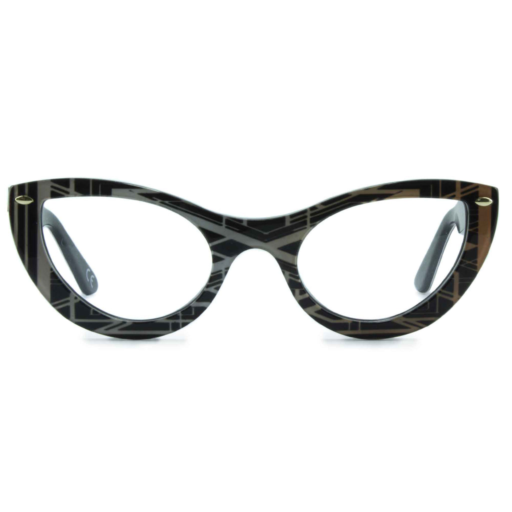 joiuss gatsby black & gold cat eye glasses