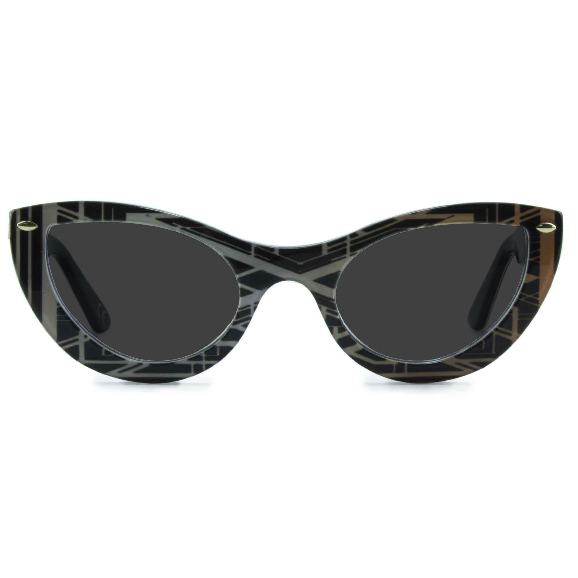 black & gold cat eye sunglasses