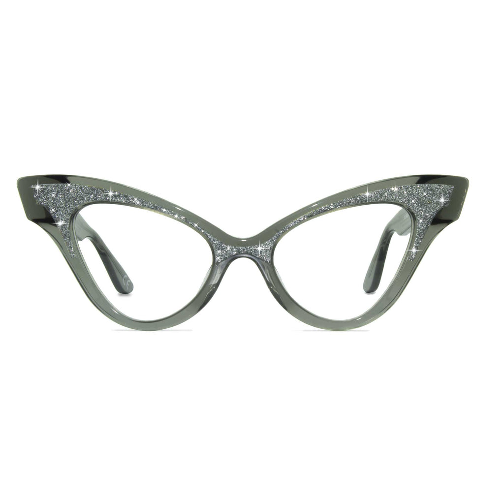 clear black winged cat eye glasses