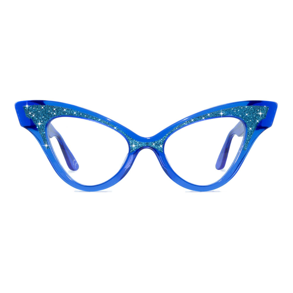 clear blue winged cat eye glasses