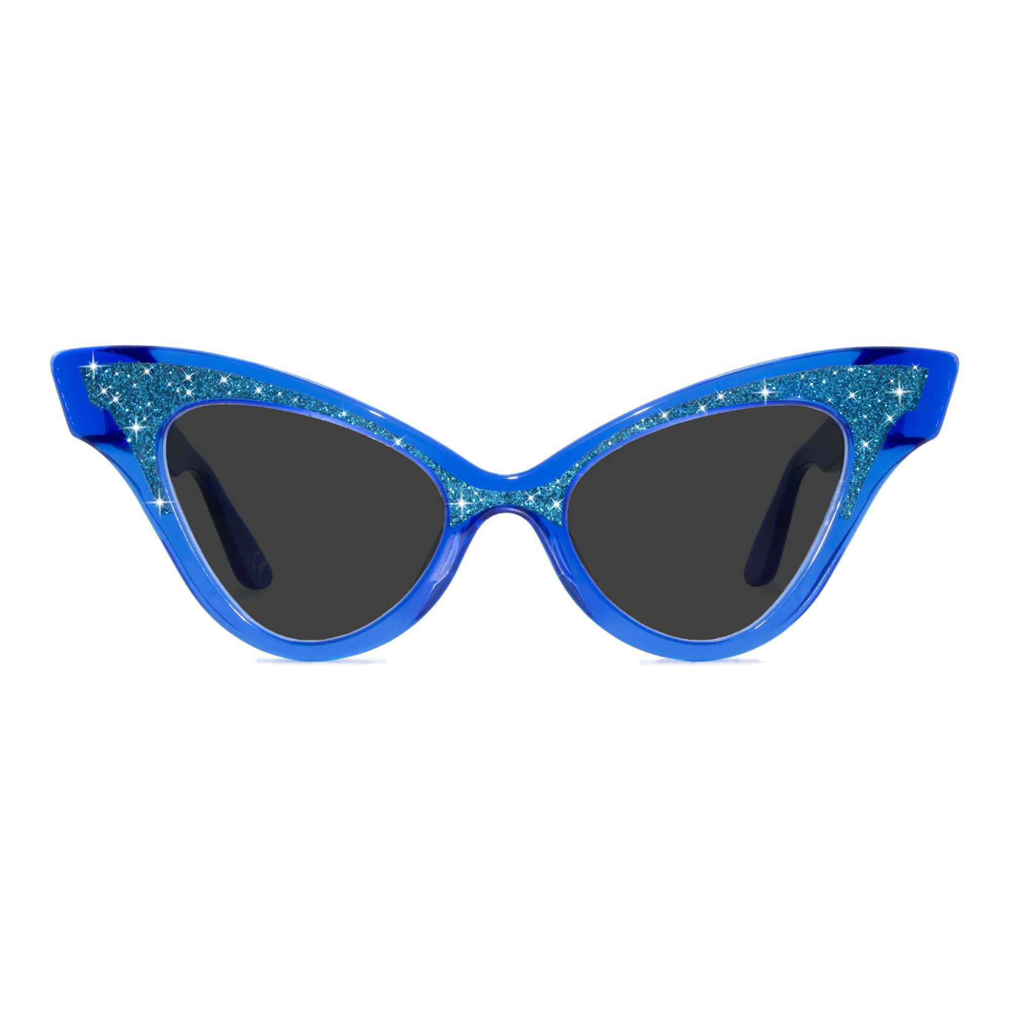 clear blue winged cat eye sunglasses