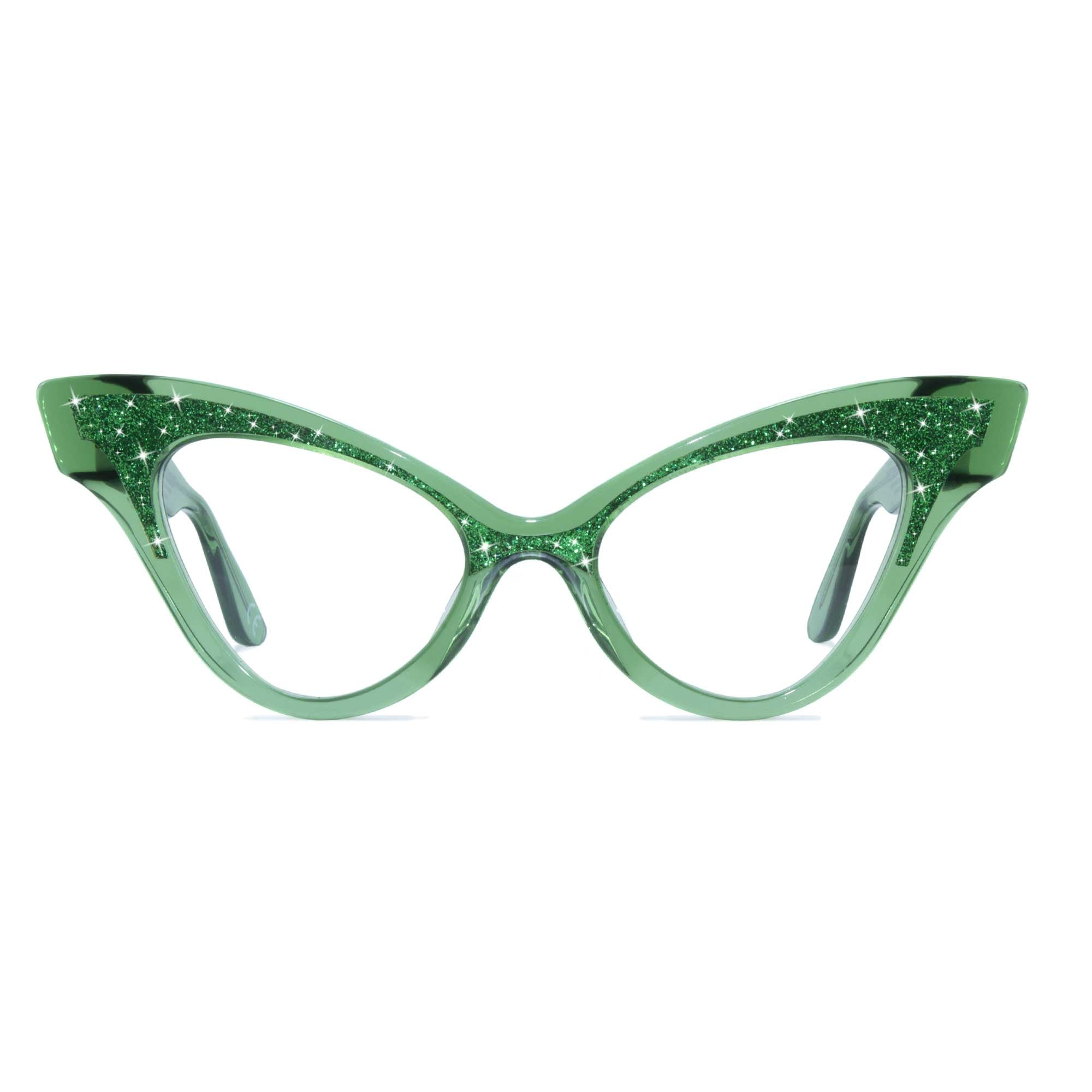 clear green winged cat eye glasses