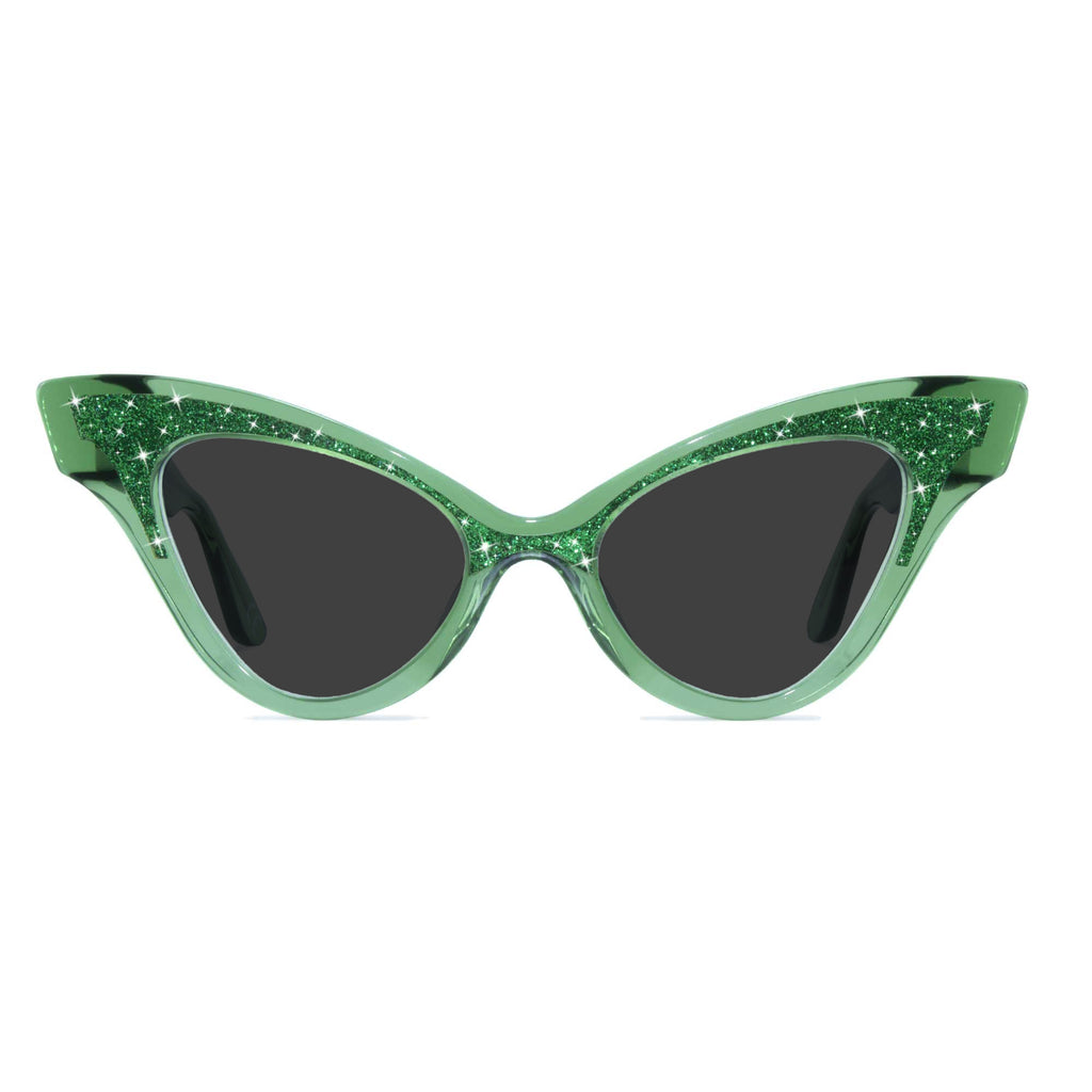 clear green winged cat eye sunglasses