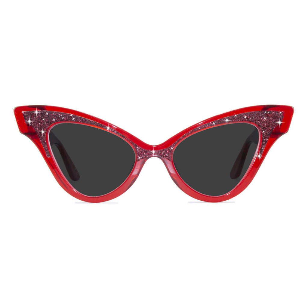 clear red winged cat eye sunglasses