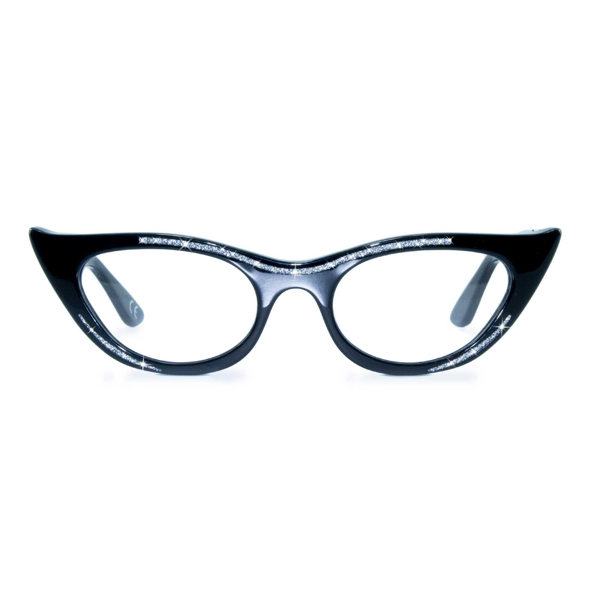 black winged cat eye glasses
