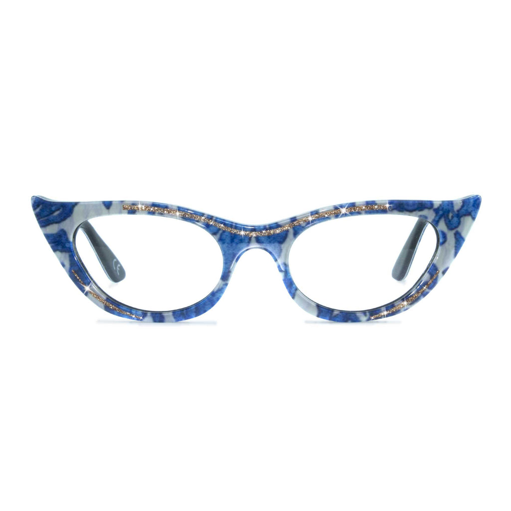 blue & cream winged cat eye glasses