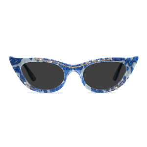 blue & cream winged cat eye sunglasses