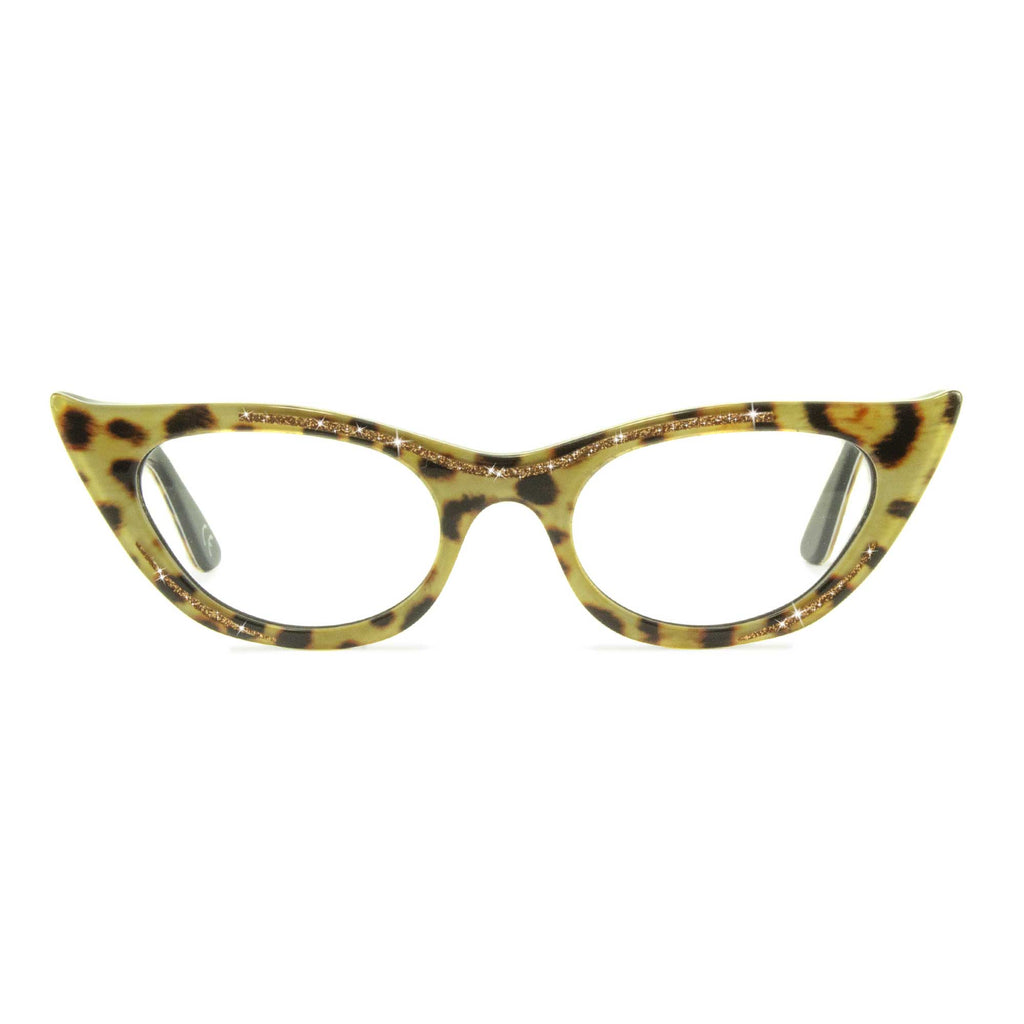 leopard print winged cat eye glasses