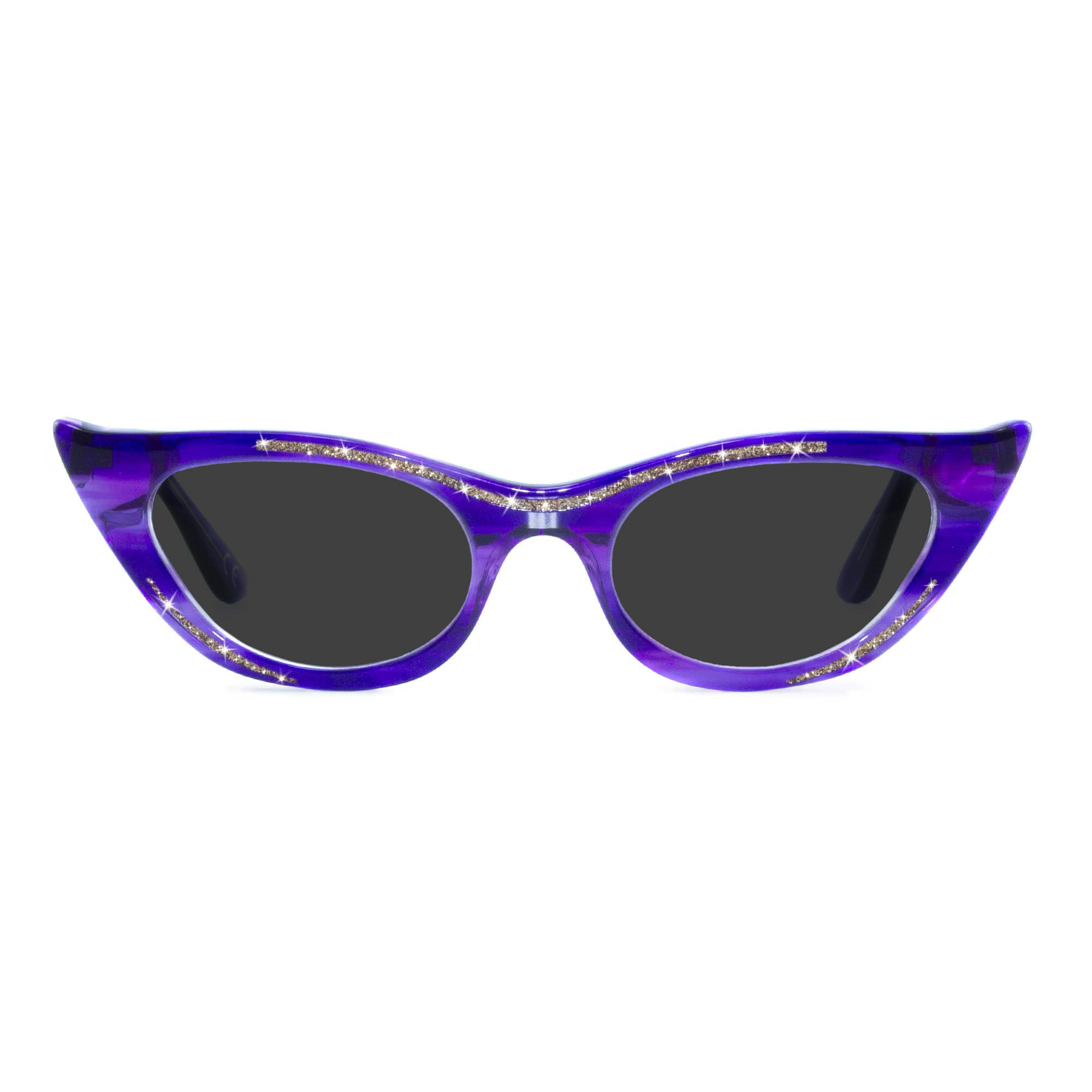 purple winged cat eye sunglasses