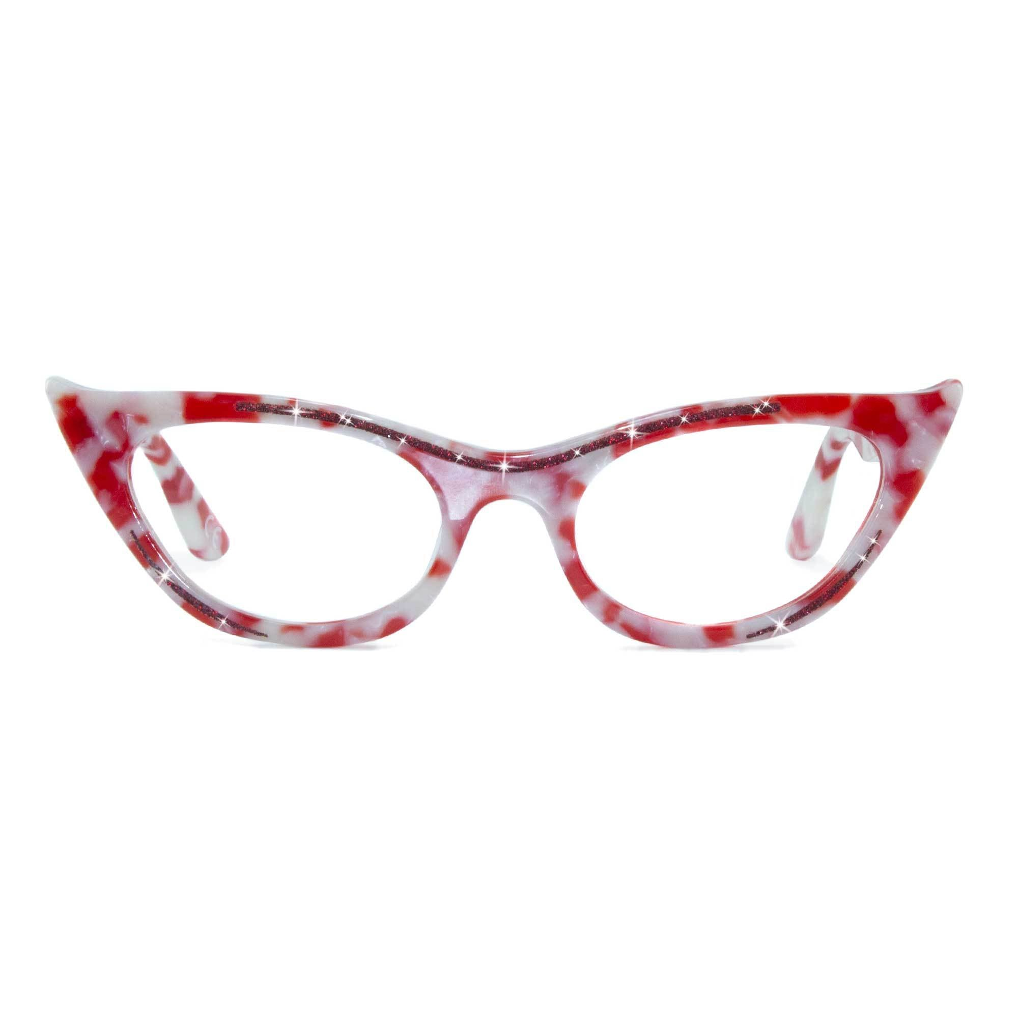 red marble winged cat eye glasses