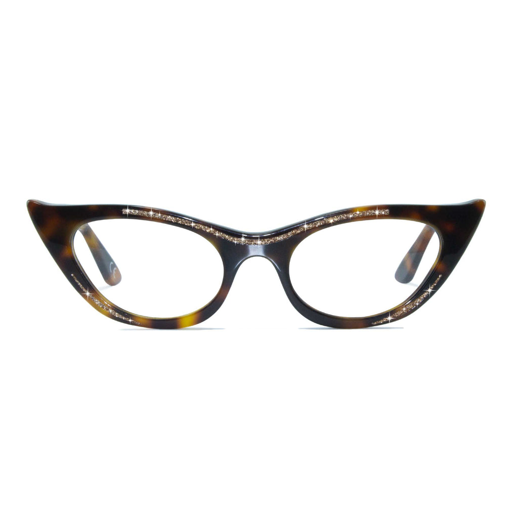 tortoiseshell winged cat eye glasses