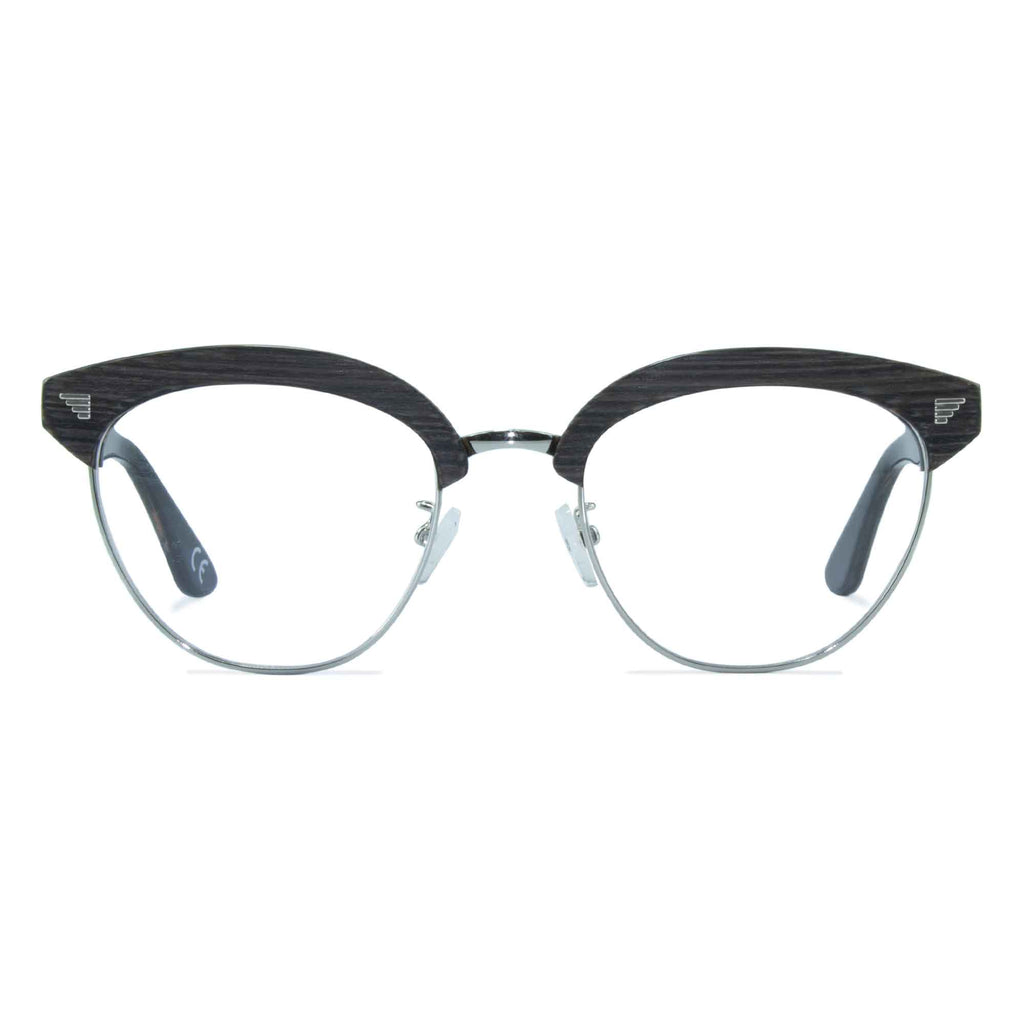 dark grey clubmaster glasses