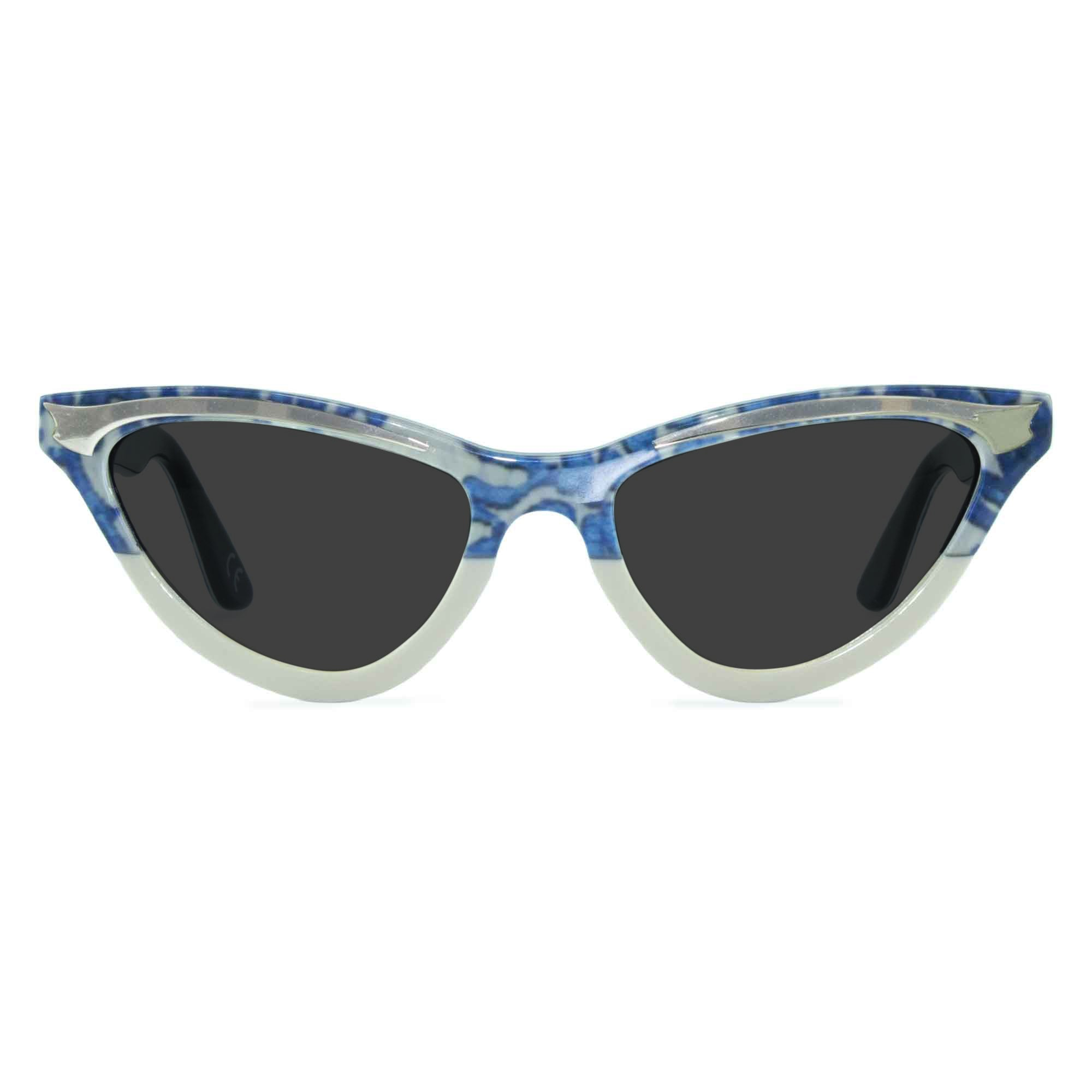 blue lace cat eye sunglasses