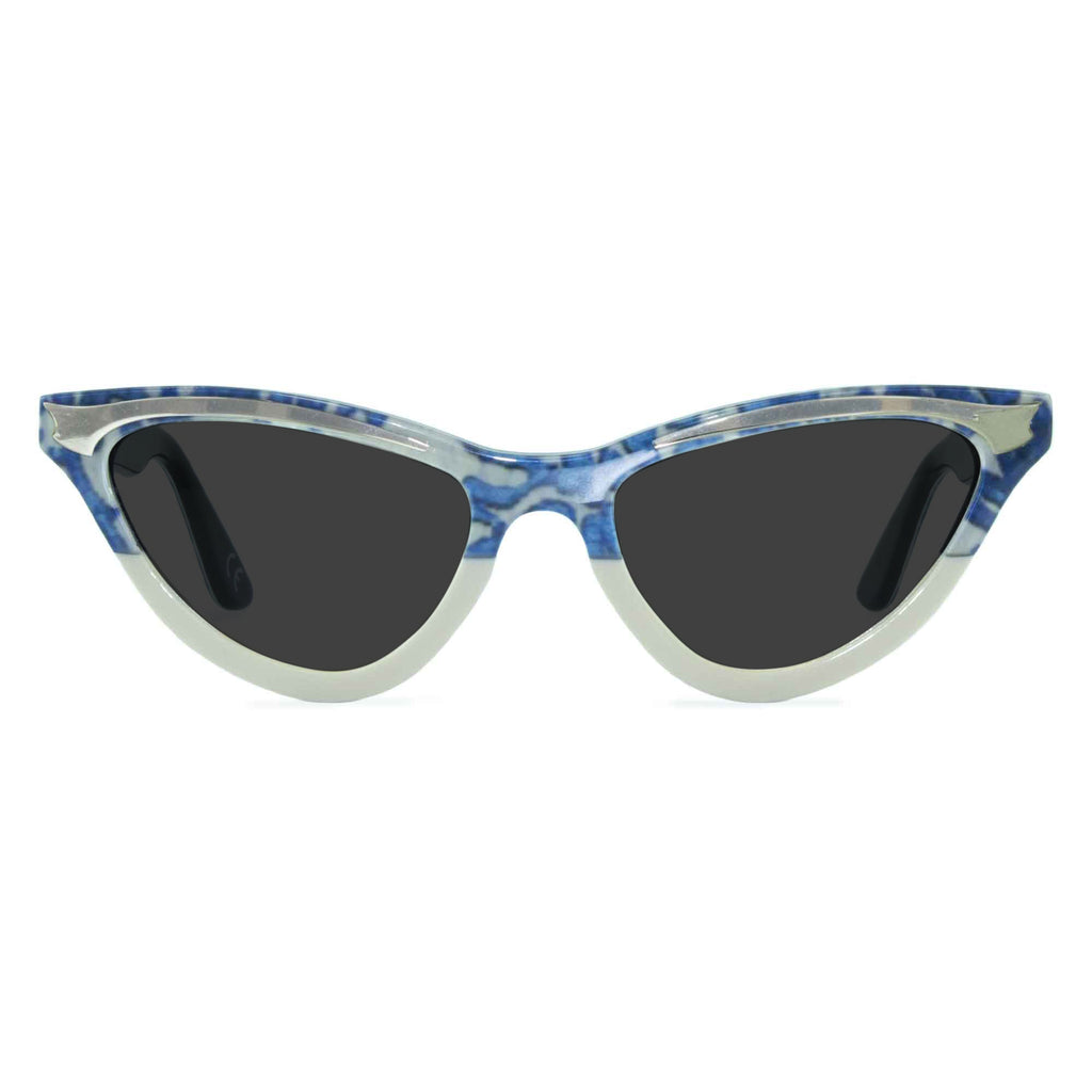 maryloo blue lace cat eye sunglasses