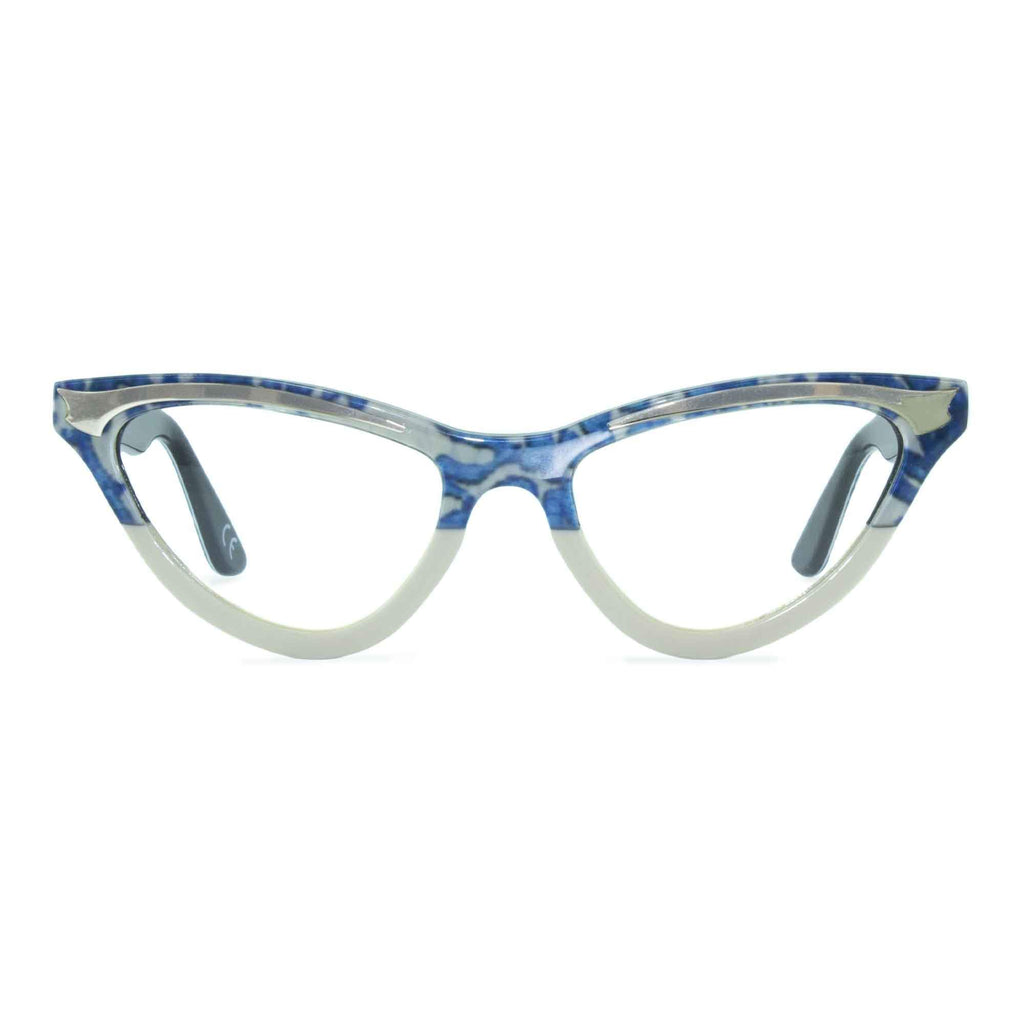 blue lace & cream cat eye glasses