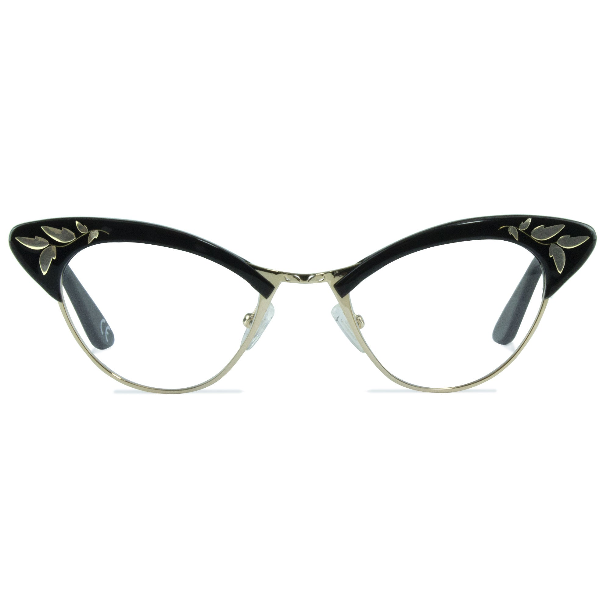 black & gold cat eye glasses