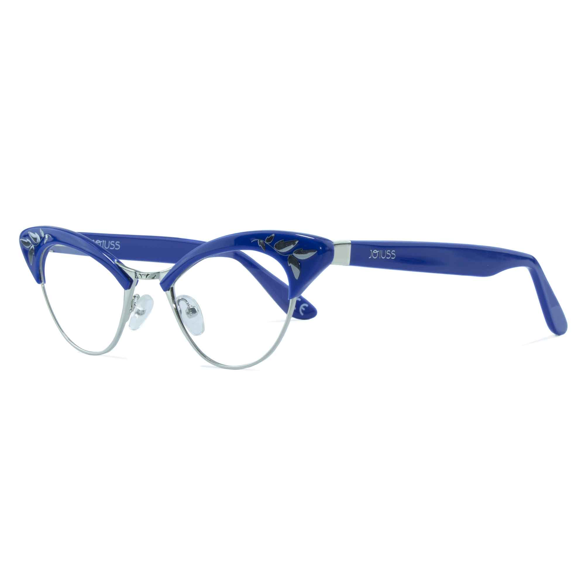 blue & gold cat eye glasses