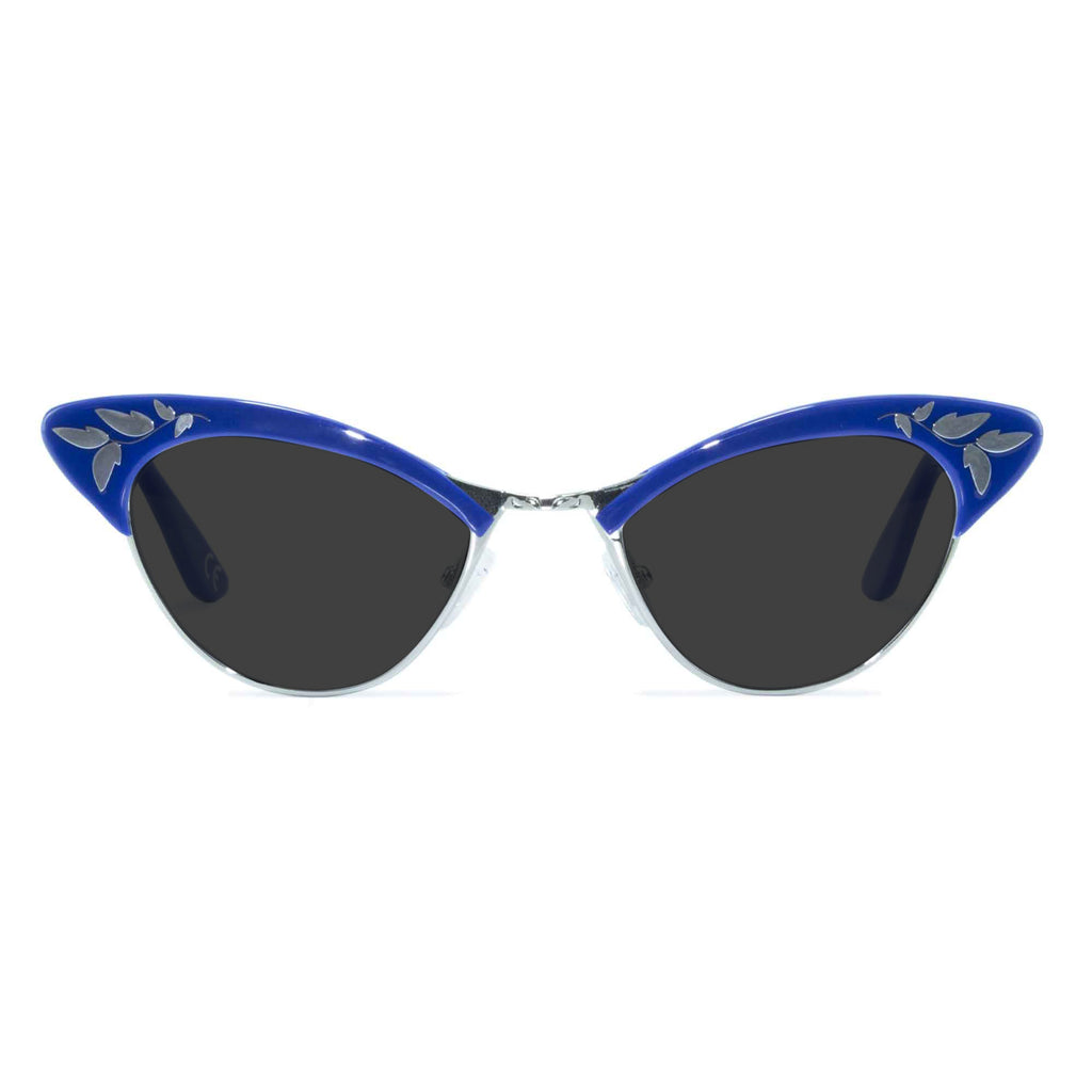 blue & gold cat eye sunglasses