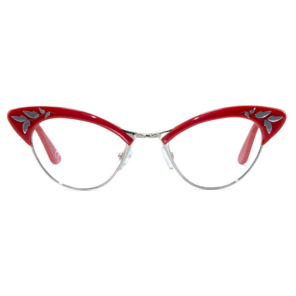 red & gold cat eye glasses