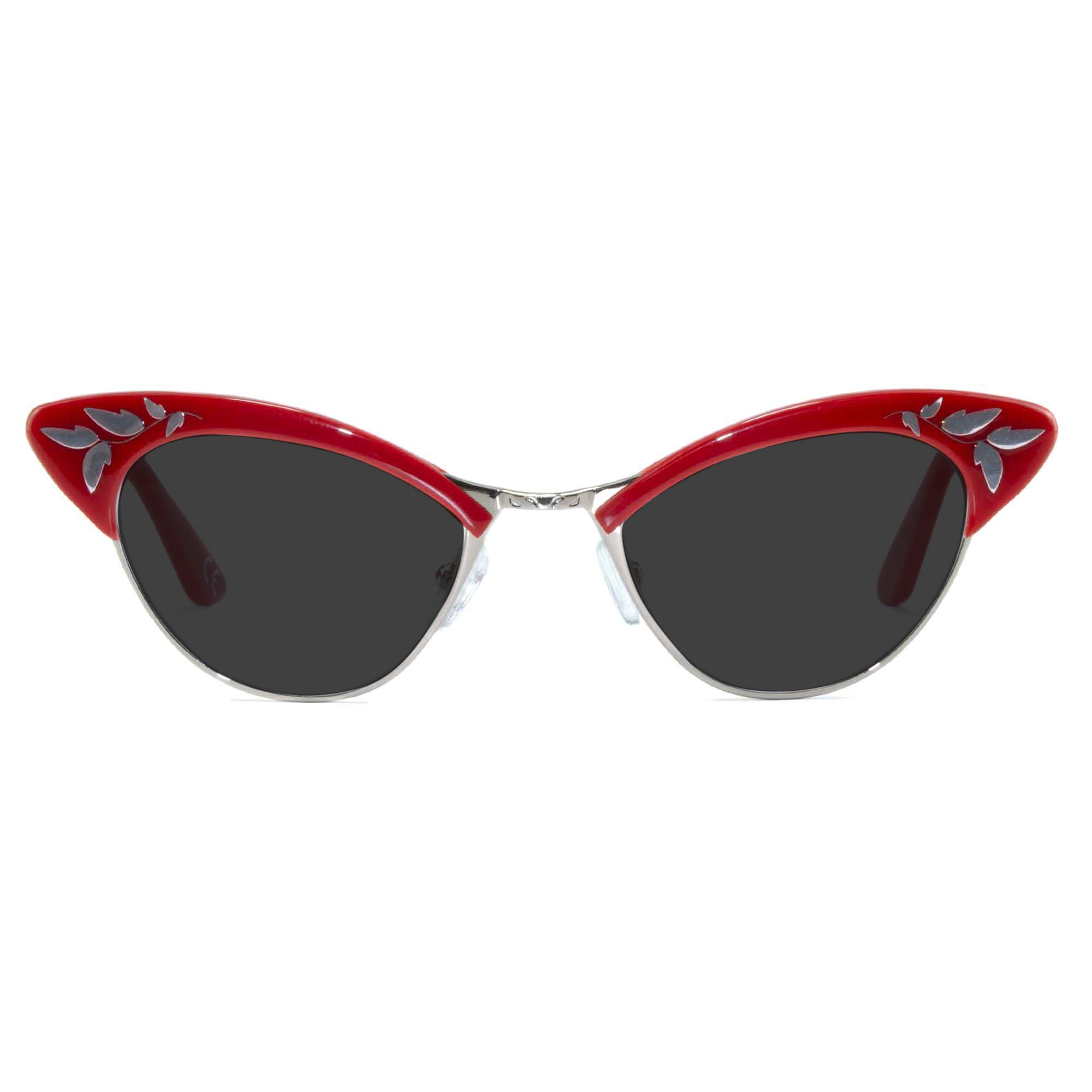 red & gold cat eye sunglasses