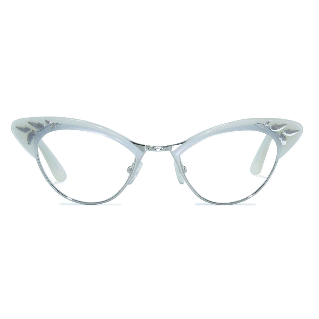 white & silver cat eye glasses