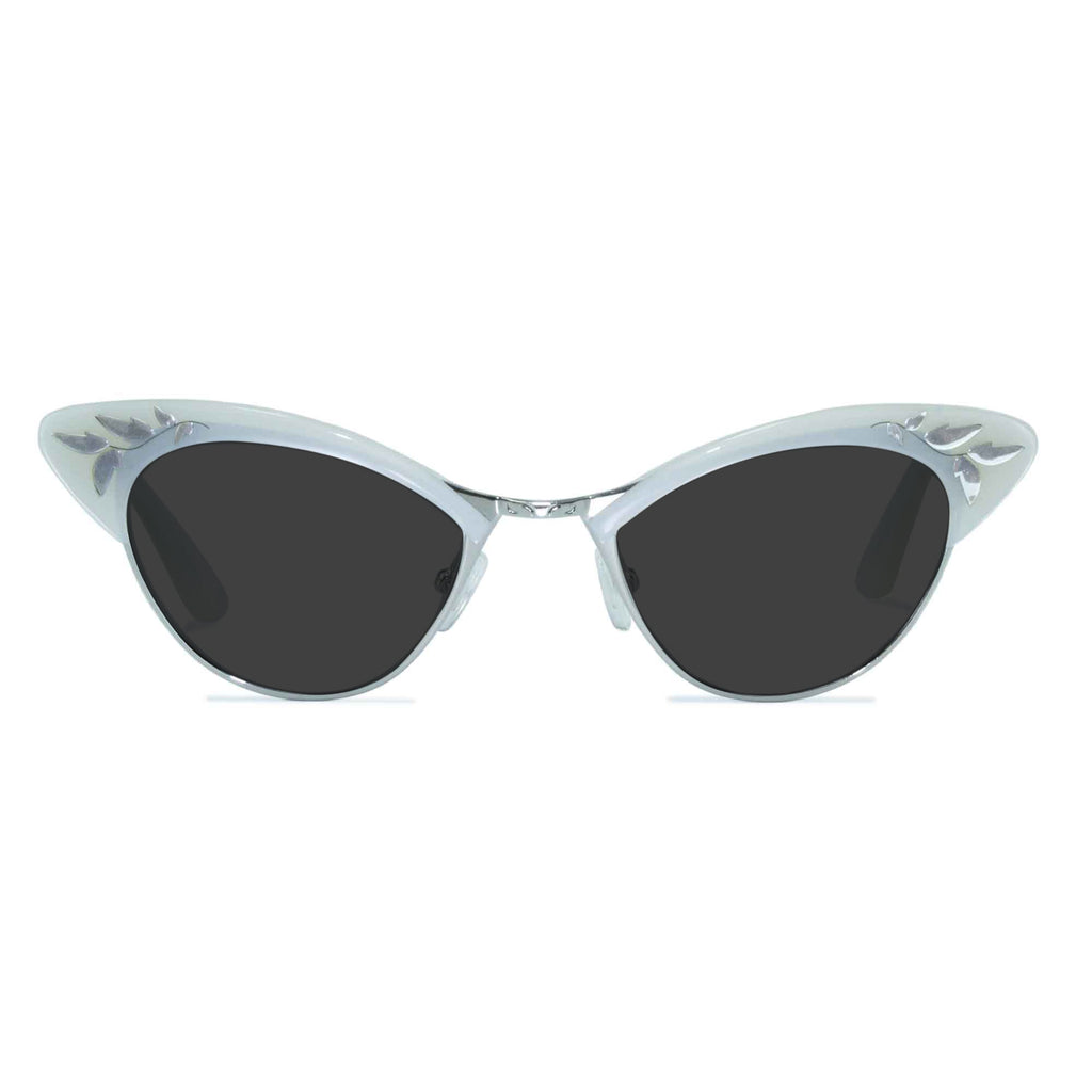 white & silver cat eye sunglasses