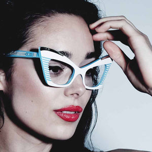 Doreen White & Sky Blue Cat Eye Glasses