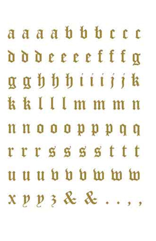 Decals unlimited inc 3444 old english letter sheet gold lowercase thecheapjerseys Images