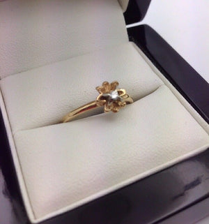 14CT/14k Yellow Gold Diamond Ring (Guaranteed Genuine) Size P1/2 #13053