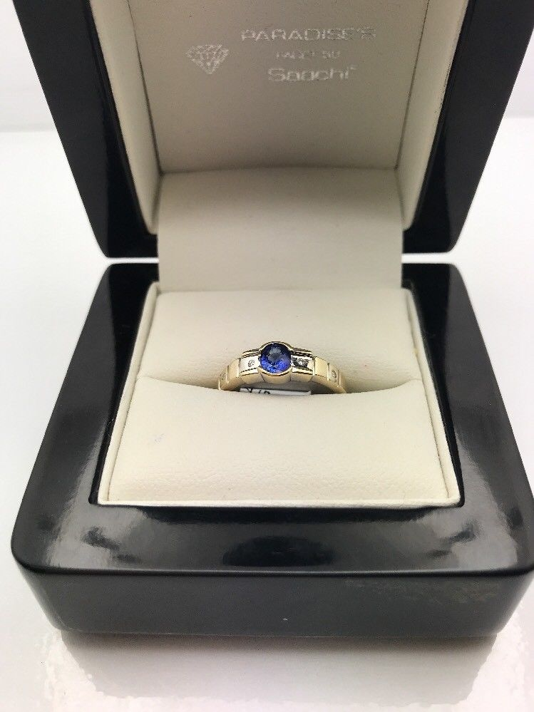 9CT Yellow Gold Sapphire Diamond Ring  (Guaranteed Genuine)Size O #A9480