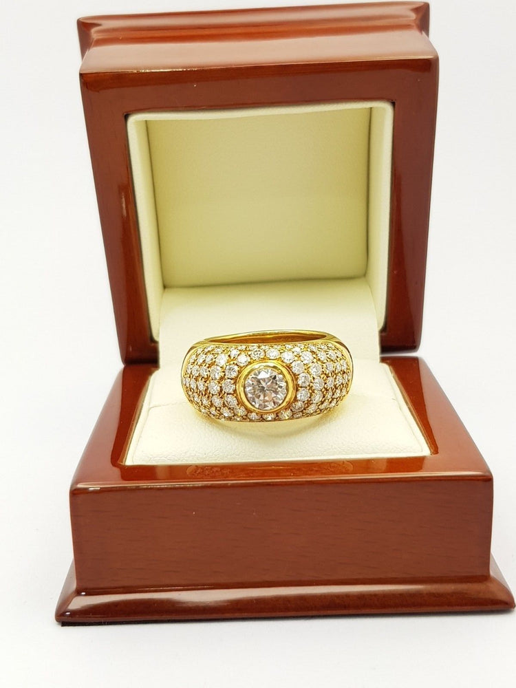 18CT Yellow Gold Diamond Ring TDW 2.98ct (Val $14000) Size R #108885