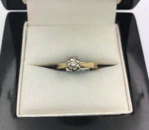 14CT/14K Yellow Gold Diamond Ring Size K (Guaranteed Genuine) #9358