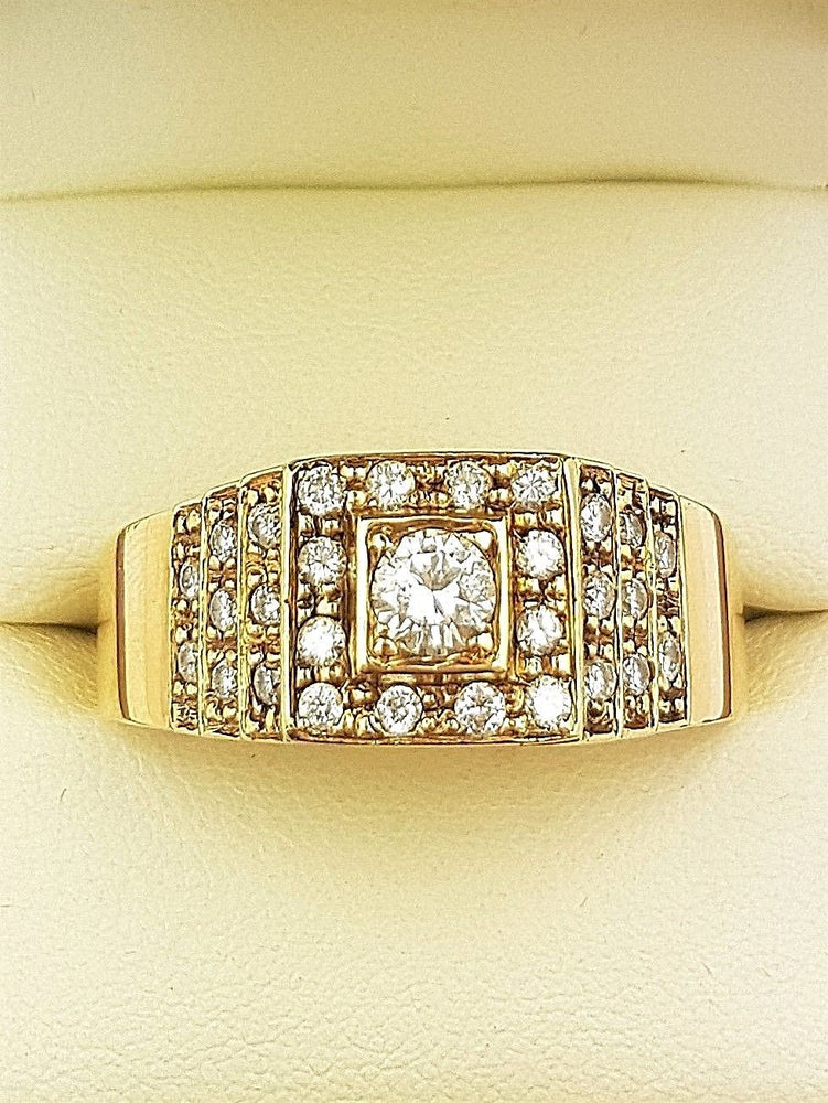 9CT Yellow Gold Mens Diamond Ring TDW 1.06ct (Val $5,120) Clarity P Size Z+8 #30324
