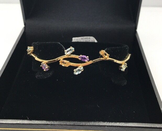 14ct / 14K Yellow Gold Amethyst Topaz Bracelet  (Guaranteed Genuine) #40464
