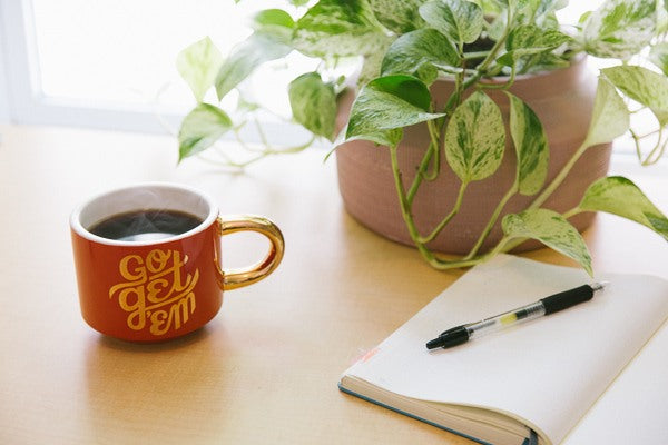Coffee, notebook and pothos houseplant
