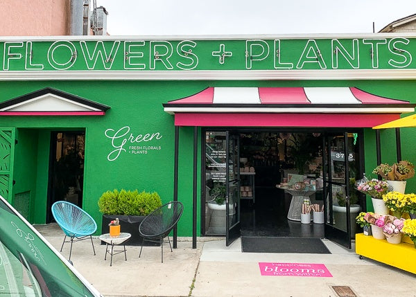 Storefront of Green Fresh Florals + Plants