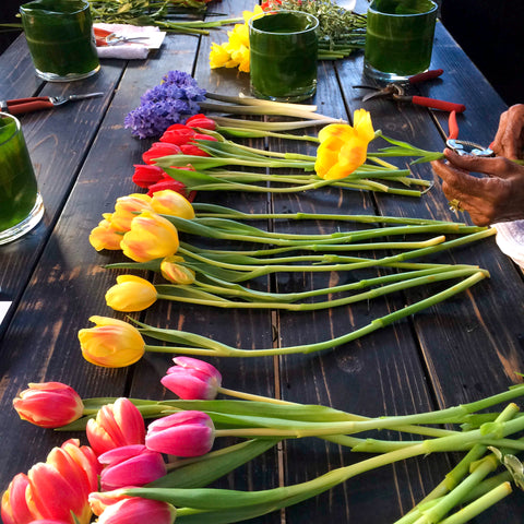 Selection of pink, yellow and red cut tulips on a black bench