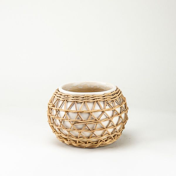 Round Rattan Wrapped Planter