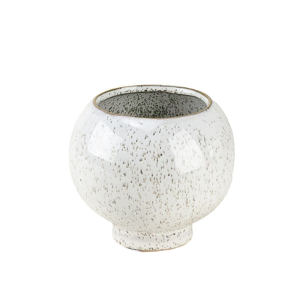 Round Flecked Stoneware Pot