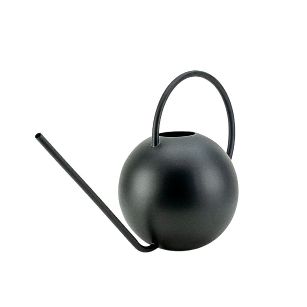 Round Black Metal Watering Can