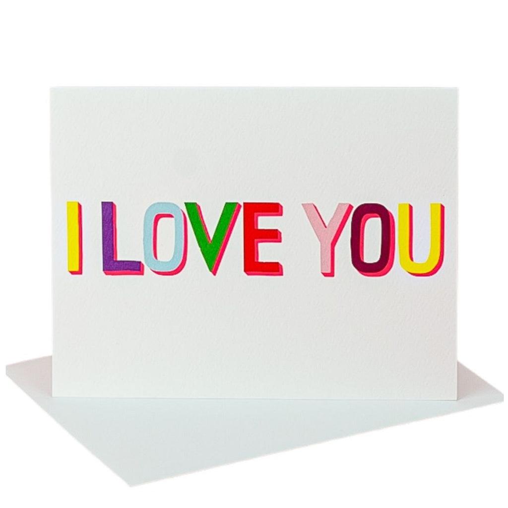 Multicolored I Love You Card