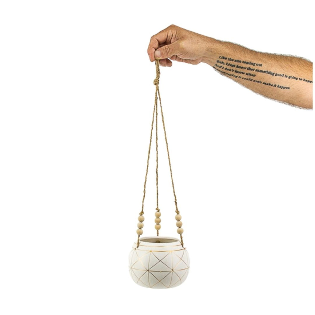 Gold Geo Ceramic Hanging Planter