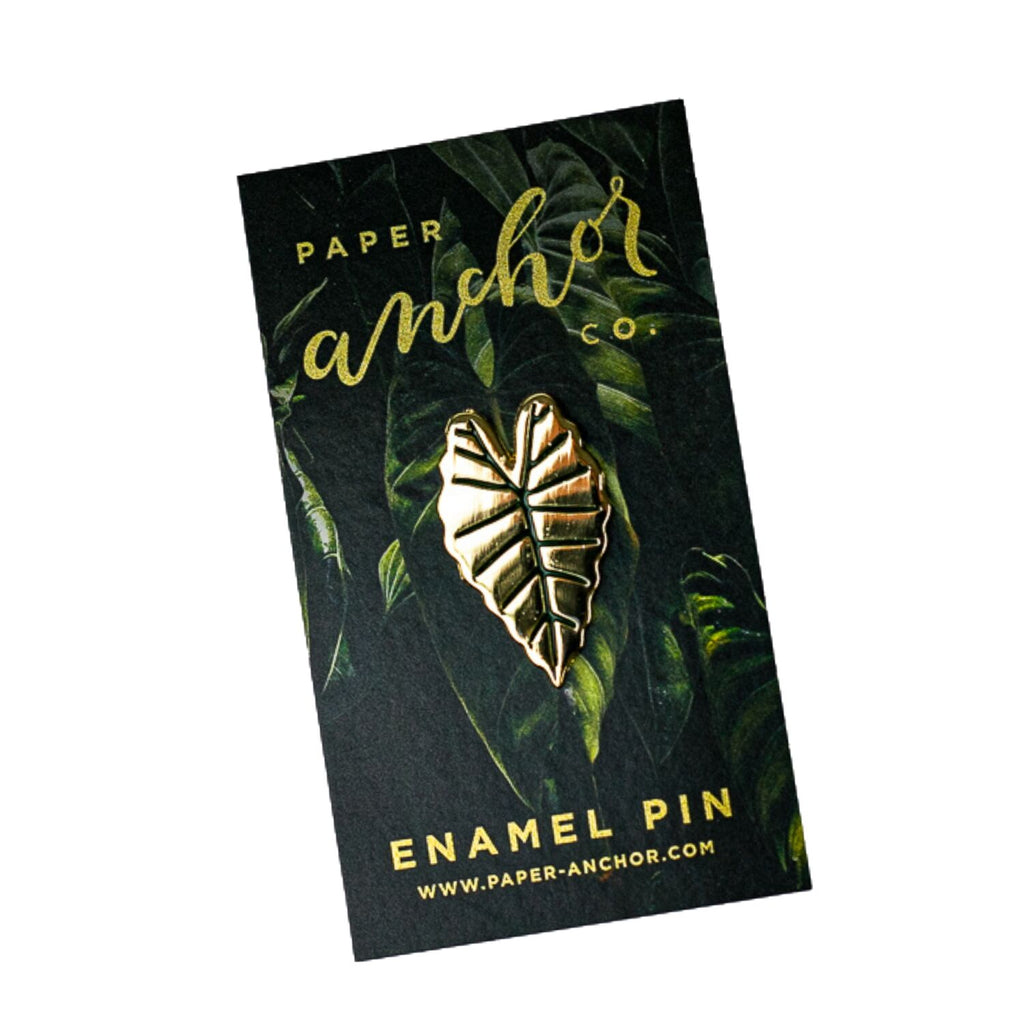 Gold Alocasia Leaf Lapel Pin