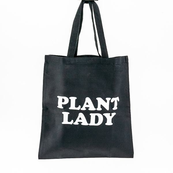 Plant Lady Black Canvas Tote
