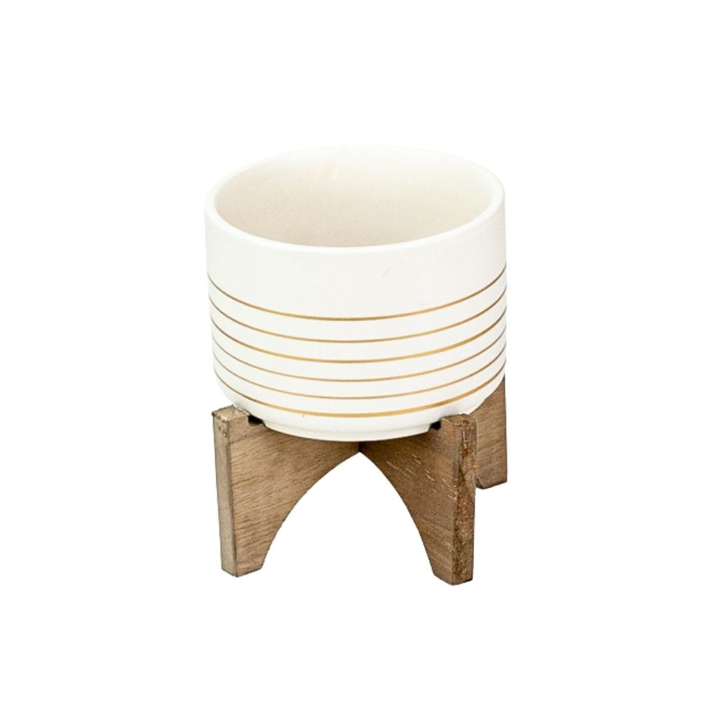Ceramic Striped Planter +  Wood Stand