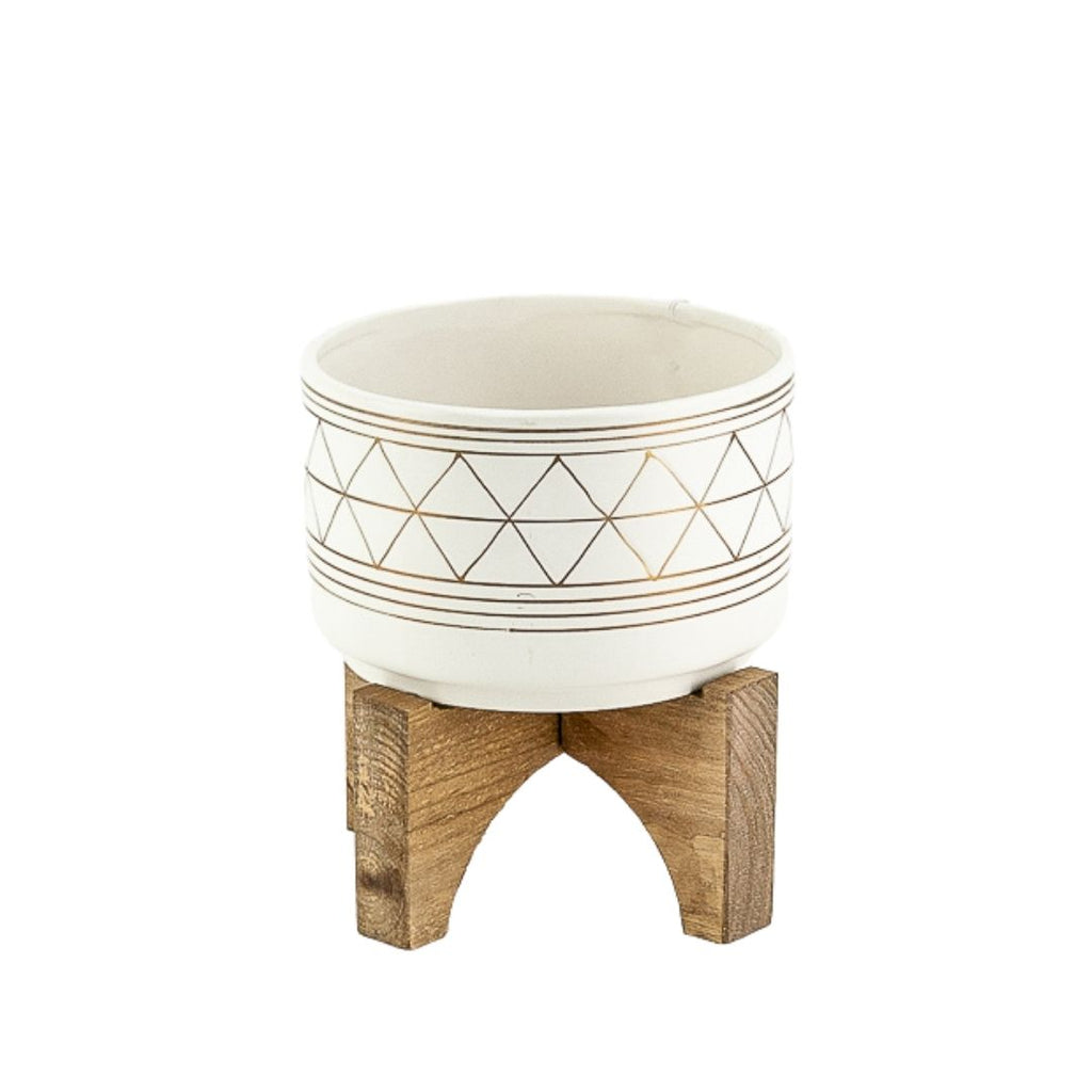 Tribal Pattern Pot + Stand