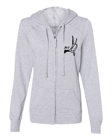 Women's Black Horn Zip-Up Hoodie